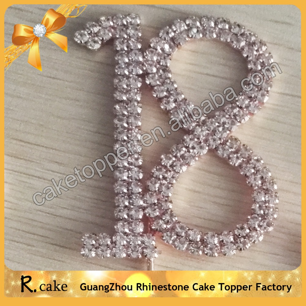 Personalized Rhinestone Pink Numbers 18th Wedding Cake Toppers Cake Decorating Supplies Birthday Party Topper