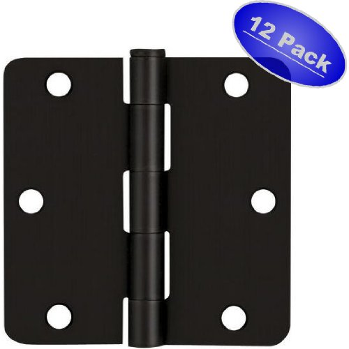 "12 Pack - Cosmas Flat Black Door Hinge 3.5"" Inch x 3.5"" Inch with 1/4"" Inch Radius Corners - 37595"