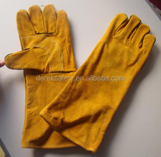 Yellow Cow Split Leather Reinforced Welder Glove Safety Gloves