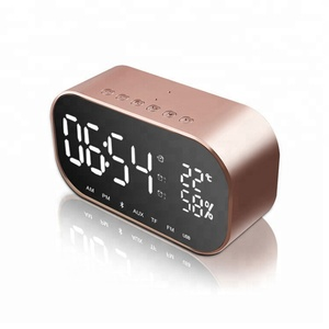 TF Card FM Radio Temperature USB Bluetooth V4.2 Speakers Stereo Handsfree Laptop LED Clock Speaker
