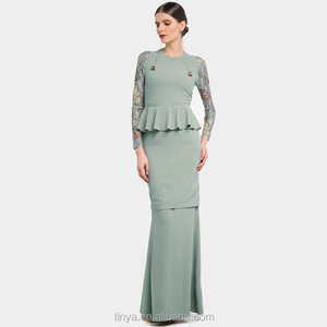 Fashion ladies design Malaysia peplum lace sleeves dress baju kurung