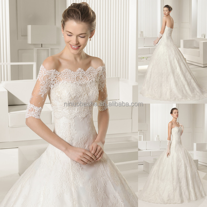 famous designer 2015 lace ball gown wedding dress with off shoulder 12 sleeve