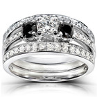 Yiwu Aceon Stainless Steel Bling Blind Wedding jewelry Diamond 3-piece Bridal Ring