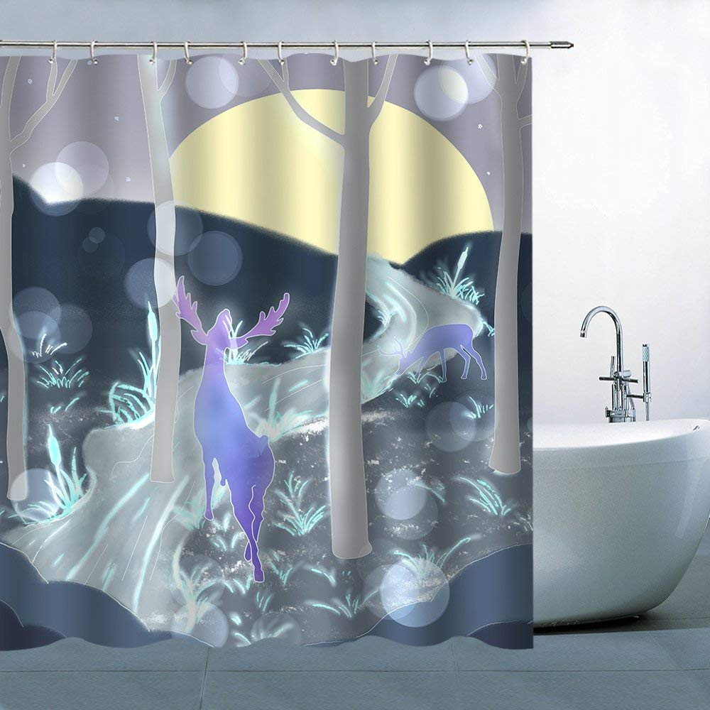 Get Quotations BCNEW Deer Shower Curtain Decor Purple Elks Yellow Round Moon Hill Stream Woods Trees 70