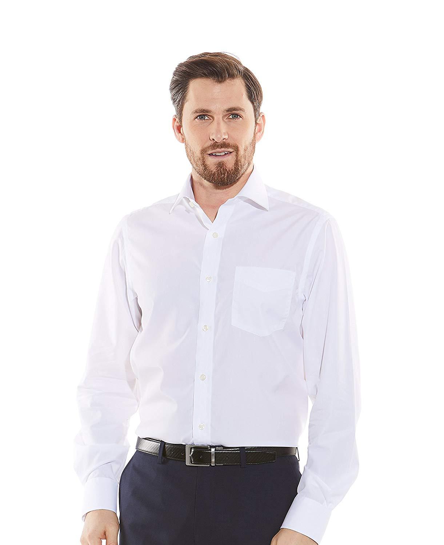 French Cuff Savile Row Mens Blue White Poplin Reverse Stripe Classic Fit Shirt
