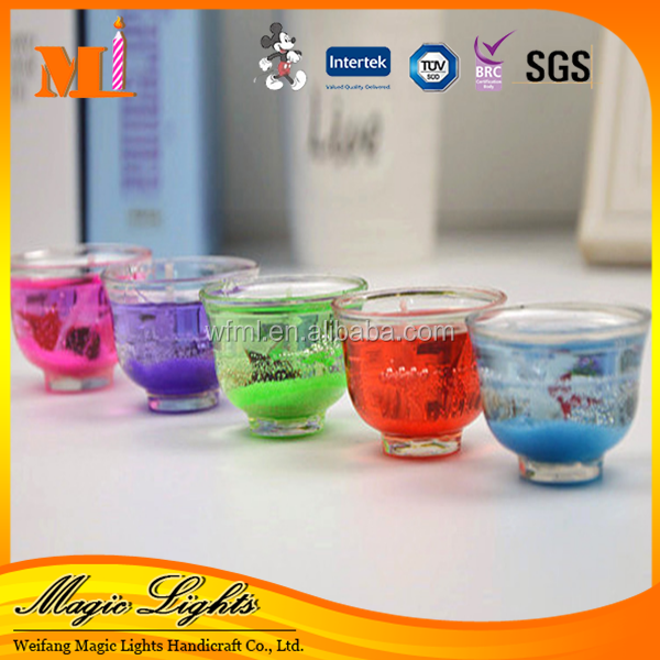 Various Shape Beautiful Holder with Gel Wax Candle With High Class Certificates