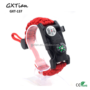 Outdoor multi-function LED lamp SOS survival kit military braided bracelet