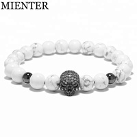 Wholesale Fashion new Jewellery women CZ skull 8mm natural Turquoise stone Beads charm Bracelet men
