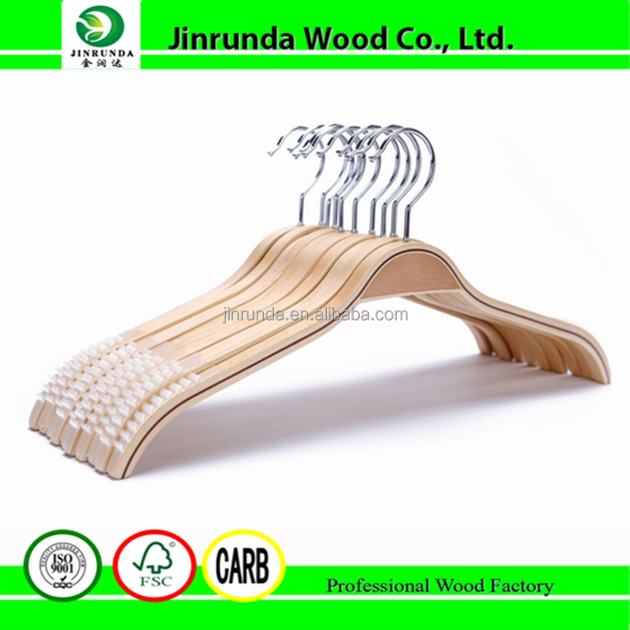 Light Wooden Clothes Hangers For Trousers and Fine Articles Of Clothing With Polished Hooks and Adjustable Clips