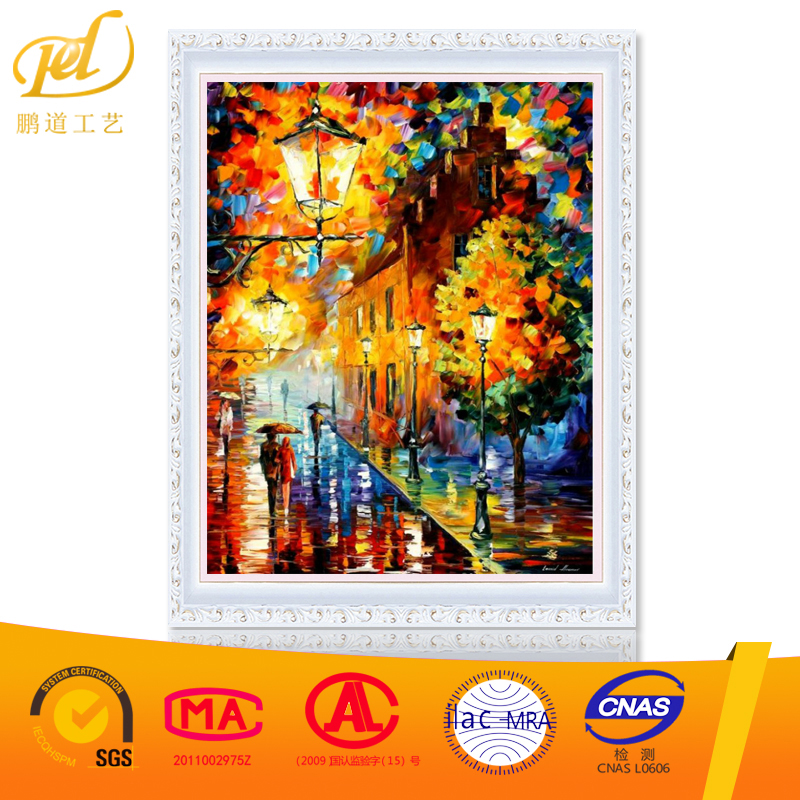 rain shopping street diy oil painting by numbers paint on canvas wall picturesRA