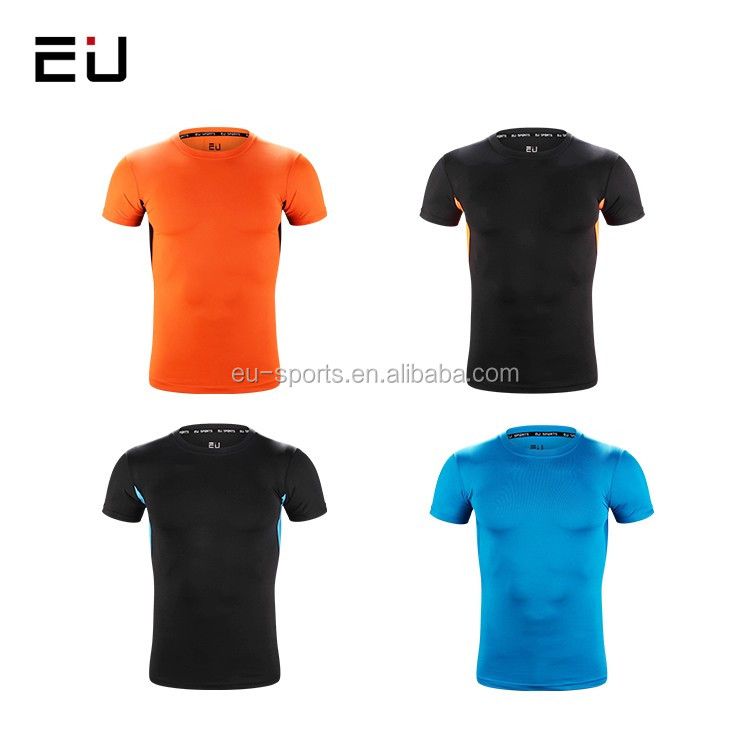 Youth soccer 3D MMA fitness sport wear compression shirts blank short sleeve running tops men sublimation compression T shirt