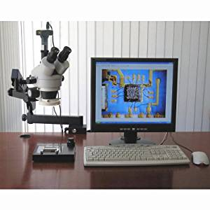 AmScope SM-6TZ-80S-8M Digital Professional Trinocular Stereo Zoom Microscope, WH10x Eyepieces, 3.5X-90X Magnification, 0.7X-4.5X Zoom Objective, 80-Bulb LED Ring Light, Clamping Articulating Arm Stand, 90V-265V, Includes 0.5X and 2.0X Barlow Lenses and 8MP Camera with Reduction Lens and Software