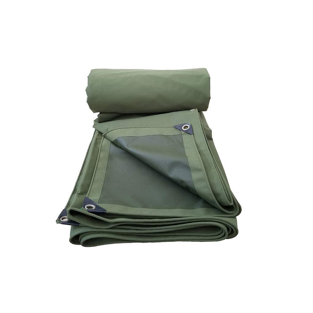 Green Thicken Rain Tarps, Heavy-duty Organic Silicone Canvas, Double-sided Tarpaulin Wear-resistant Anti-aging (Size : 6 m x 8 m)