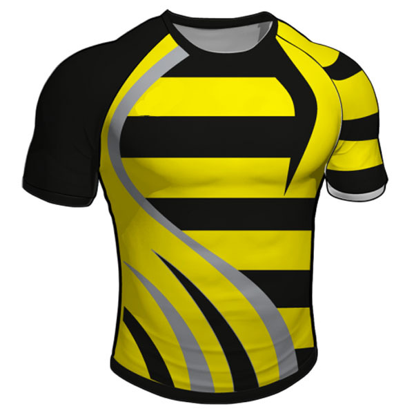 Full Sublimated Yellow And Black Stripe Rugby Practice Jersey Fo Rmen