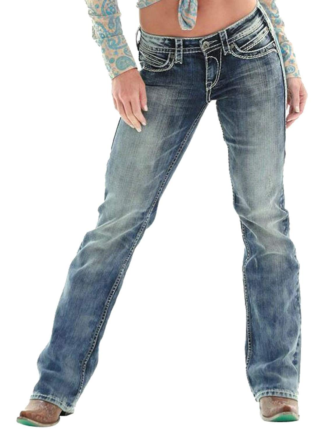 4669ae35b1a3c4 Get Quotations · SYTX Womens Sexy Low Waist Boot Cut Slim Fit Skinny Jeans  Denim Pants
