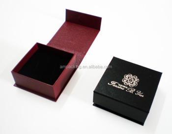Custom Magnet Closure Rigid Jewelry Paper Box With Velvet Insert Earring Packaging