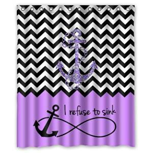 "60""(Width) x 72""(Height)Stylish Lovely Purple Block Chevron Zigzag Infinity Anchor Quotes I refuse to Sink Pattern Bathroom Shower Curtain Shower Rings Included (New Polyester) - Comfortable Life Bathroom Exclusive"