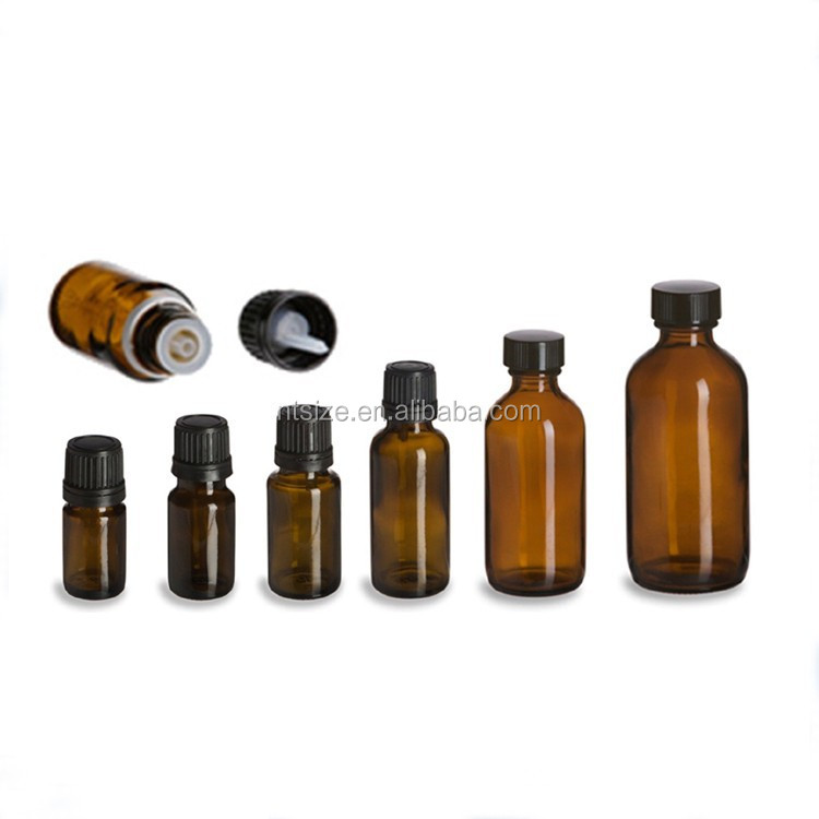 5ml 10ml 30ml 50ml 100ml Amber Glass Essential Oil Bottle With tamper evident Plastic Screw Cap