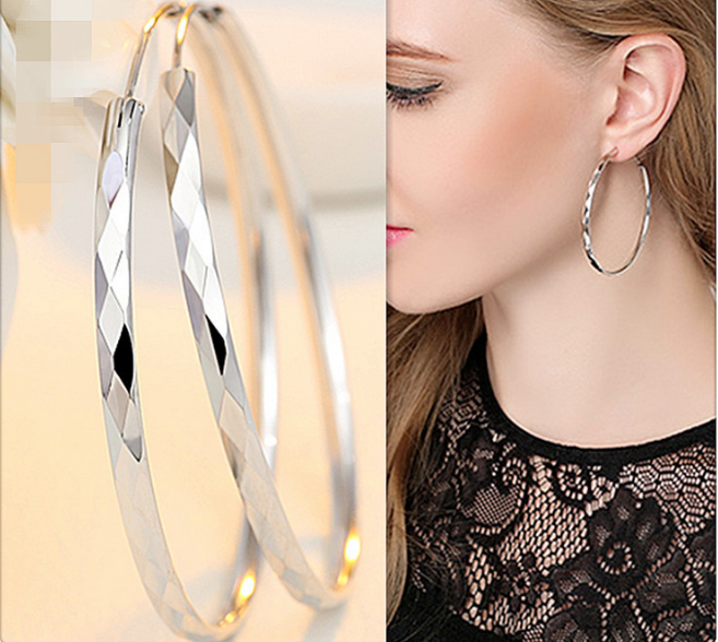 New Europe and America S925 Sterling Silver Fashion Women Big Circle Hoop Earring