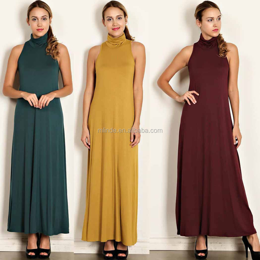 Abaya Online Shopping Dress Turtle Neck Solid Jersey Knit Maxi ...