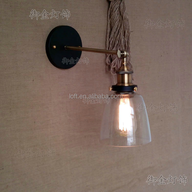 Vintage Clear Glass Bell Jar Wall Lights With Copper Lamp Base And ...