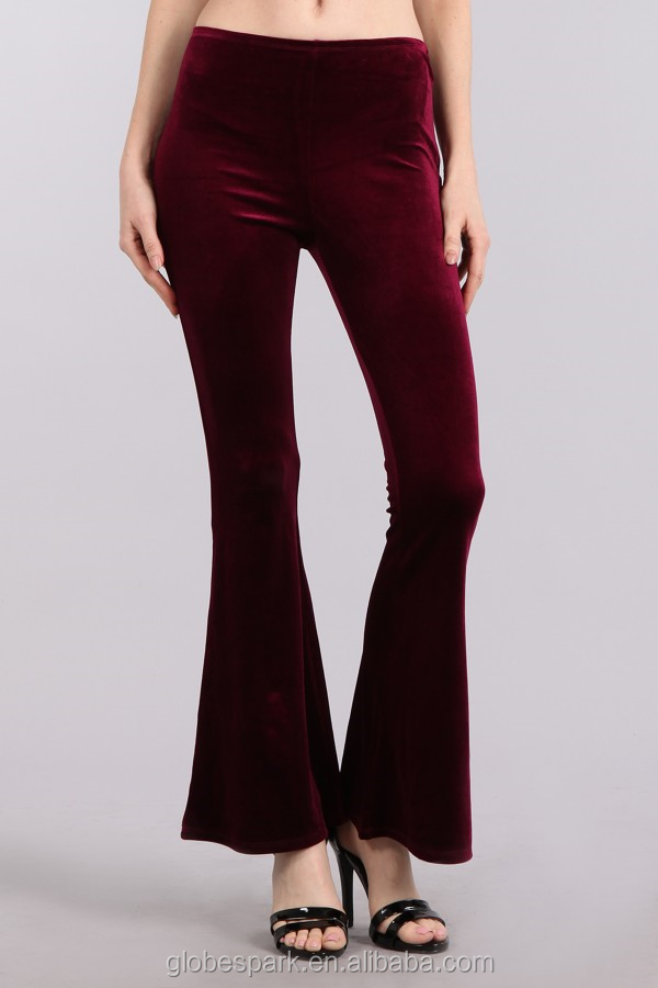 2017 women velvet fitted pants with wide leg with elastic waistband