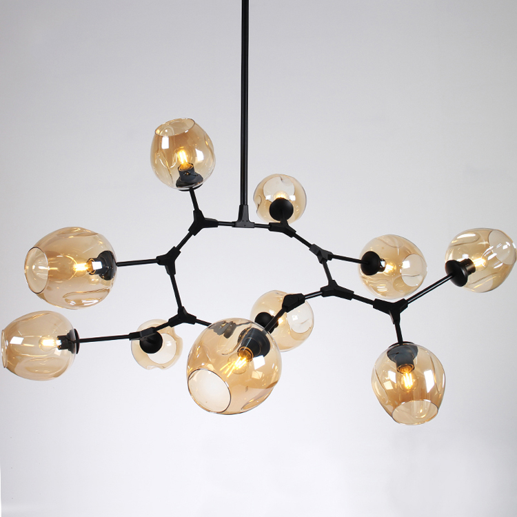 Northern Europe Painting scrub tubes frosted glass lamp forged iron chandeliers accessories chandeliers for estudio
