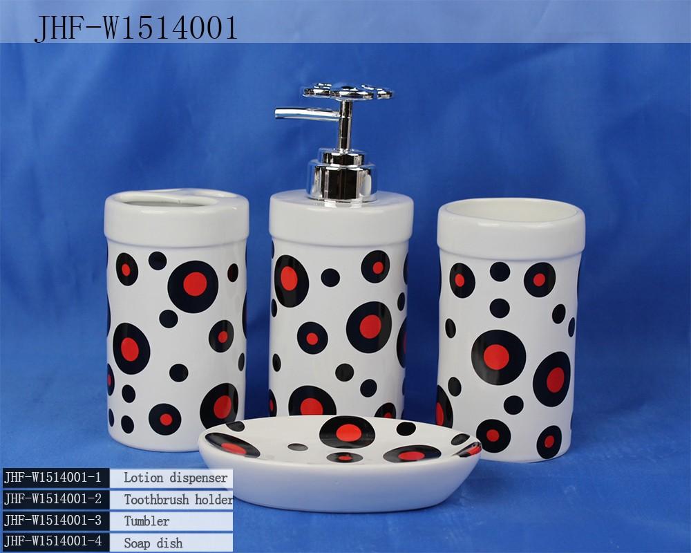 Unique design tache rouge jaune en céramique salle de bains set ...