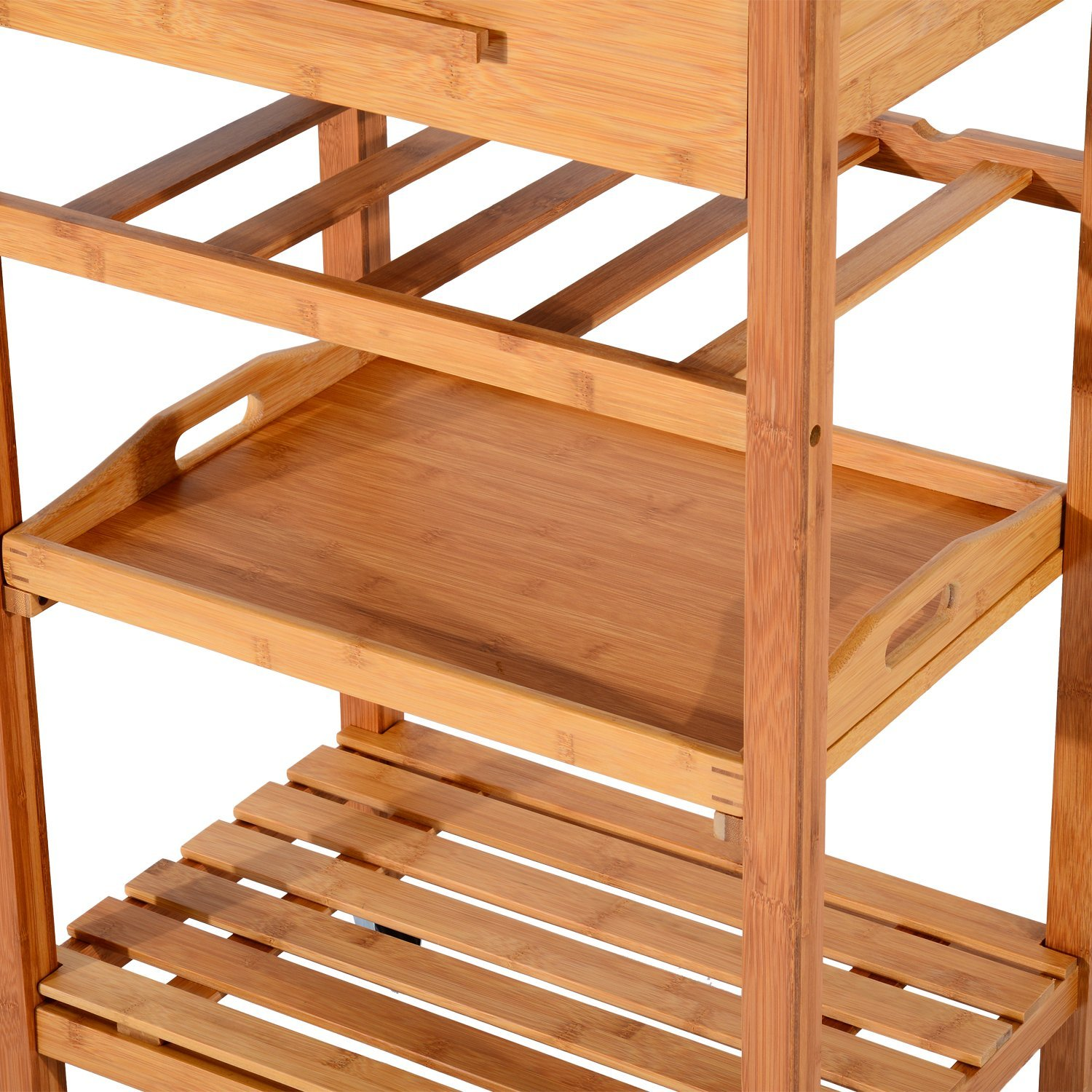 natural bamboo material housekeeping trolley with multi-function for supermarket and luggage