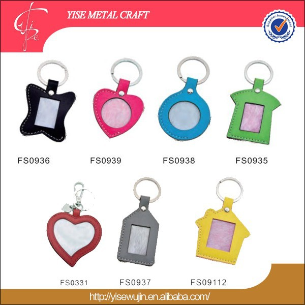 promotion different shapes colorful leather digital photo frame keychain