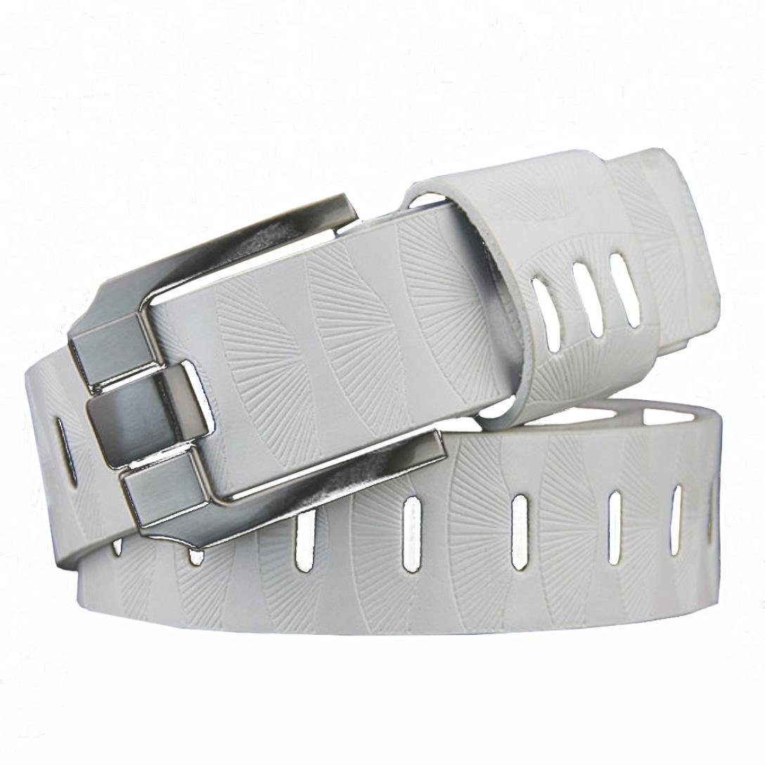 Men's Belt ,kaifongfu Fashion Strap Mens PU Leather Belt Smooth Girdle Buckle Waistband Leisure Belt (White)