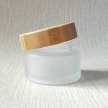 Empty 30ml glass cosmetic 1oz cosmetic jar wood with cap C49