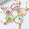 Fashion accessories real Dried Flower Crystal Floating Charm Locket Pendant Necklace for women