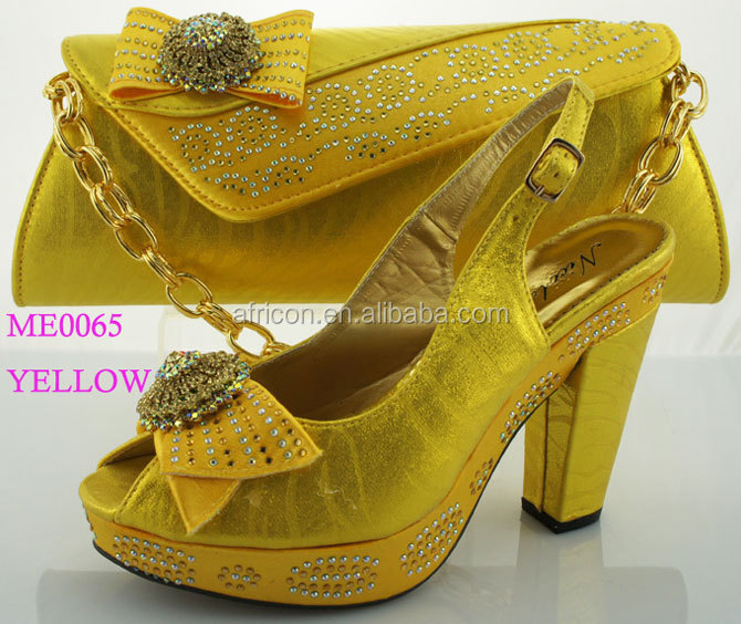 Me0065 Yellow Wedding Shoes P Toe With Matching Bag Bridal Party And