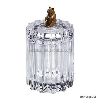 clear crackle crystal decorative jar box engraved crystal glass bear