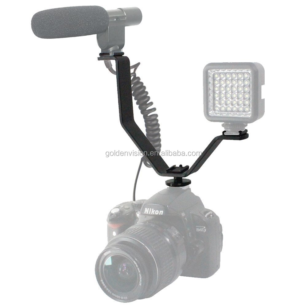 OEM Aluminium Alloy V Shape Dual Mount Bracket with Hot Shoe for Video Light Microphone Monitor Camera
