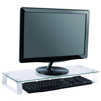 slim design glass office ergonomics computer monitor stand space bar