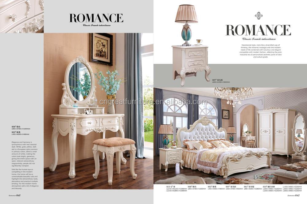 italian classic bedroom set with dressing table and stool