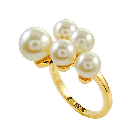 Hot Sales Pretty Engagement Gold And Diamond Pearl Ring Beaded Jewelry