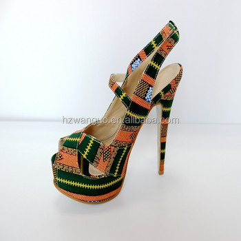 a8c45f190eb 2016 new girl shoes new design fashion lady shoes with african wax print  fabric