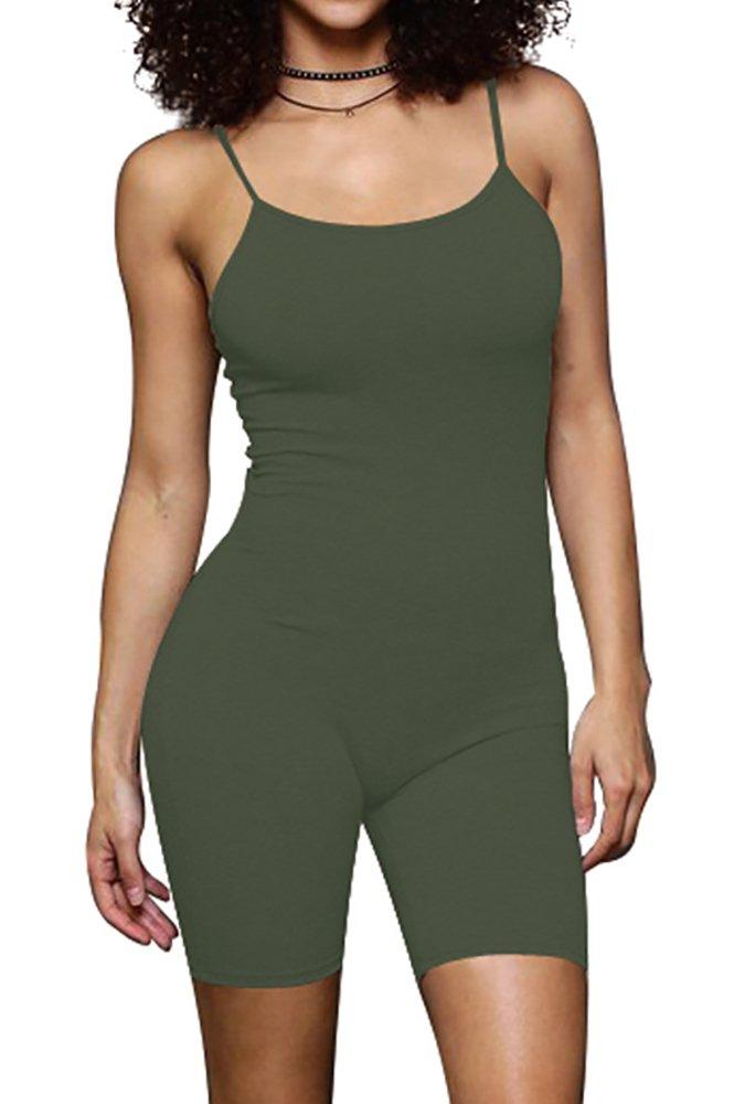 68070d3946d3 Get Quotations · Jescakoo Women s Spaghetti Strap Low-Cut Back Short Jumpsuit  Rompers