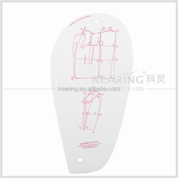 Kearing Plastic French Curve Ruler Garment Durable Drawing Template With Metric Scale For Fashion Design 6406