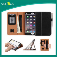 Premium PU Leather Case Stand Cover with Card Slots, Note Holder, Quality Hand Strap and Elastic Strap for iPad Mini 4