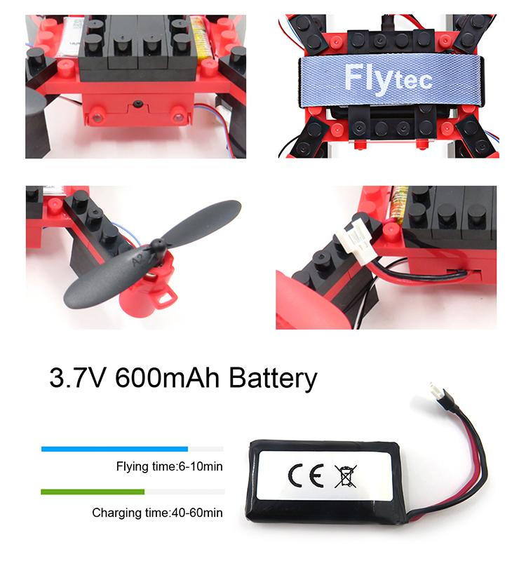 5. T11S_Red_WIFI_FPV_DIY_Building_Blocks_Drone_with_0.3MP_Camera_RC_Drone