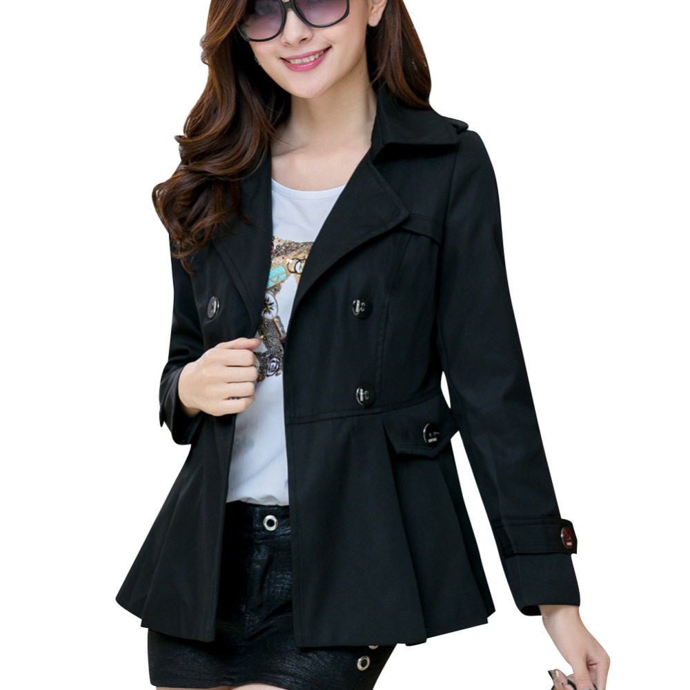 Korean Style Lady Casual Short Trench Plus Size M-4XL 2015 New Autumn Turn-down Collar Solid Color Woman Fashion Slim Coats