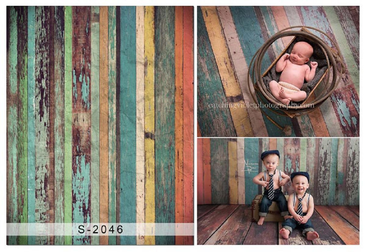 Aodicon 3x5ft silk cloth photography background wooden wall newborn baby birthday photo backdrops props for studio