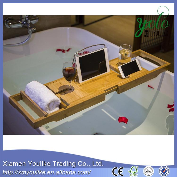 Hersteller Heisser Verkauf Naturliche Farbe Bambus Bad Caddy Fur