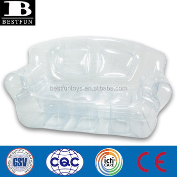 China Factory Custom Made Inflatable Transpa Sofa Clear Plastic Portable Fold Up Couch