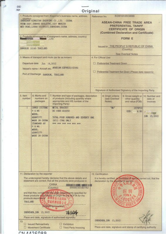 Agent Asean China Free Trade Area Preferential Tariff Certificate Of