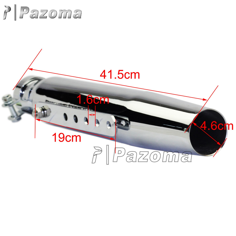 "New Design Pazoma Silver 14.1""New Rear Galvanized Steel Motorcycle Exhaust Muffler Fit For Vintage Motorcycles"